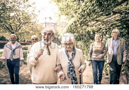 Group of old people walking outdoor. Concept about seniority