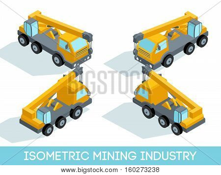 Isometric 3D mining industry icons set 7 image of mining equipment and vehicles isolated vector illustration.