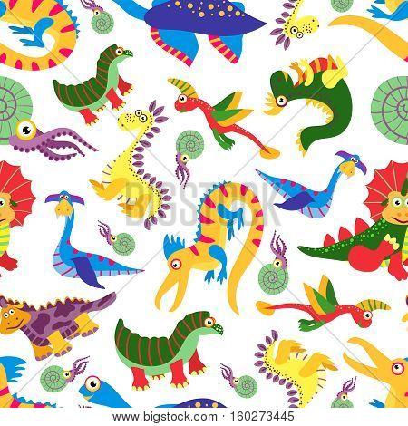 Cute baby dinosaurus pattern. Dinosaur cartoon jurassic predator vector. Children background with colored dinosaurs illustration