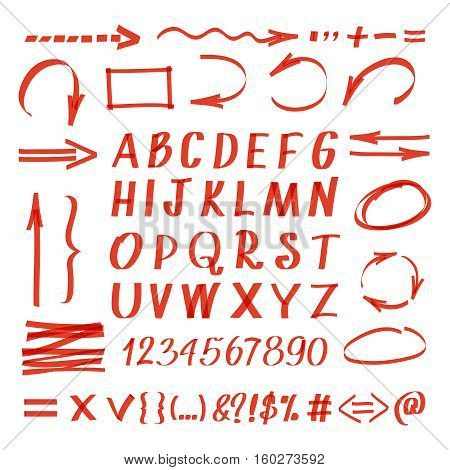 Marker hand written symbols. Vector pen line arrows and circles, letters and numbers. Handwriting marker arrow illustration