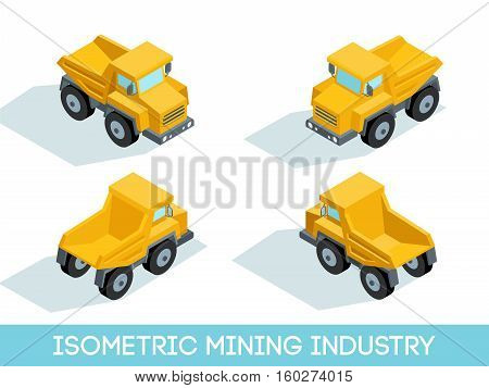 Isometric 3D mining industry icons set 4 image of mining equipment and vehicles isolated vector illustration.