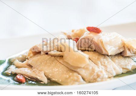 liquor hainanese chicken cold dish, groumet chinese cuisine