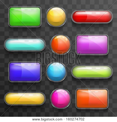 Transparent vector glass banners or plastic glossy sign shapes. Web button rectangle shape, glossy colorful rounded buttons illustration