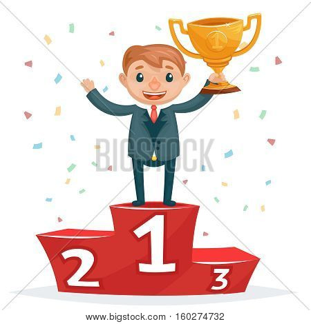 Cartoon successful smiling business man with golden award on winners podium. Businessman with golden cup, success man win gold cup illustration