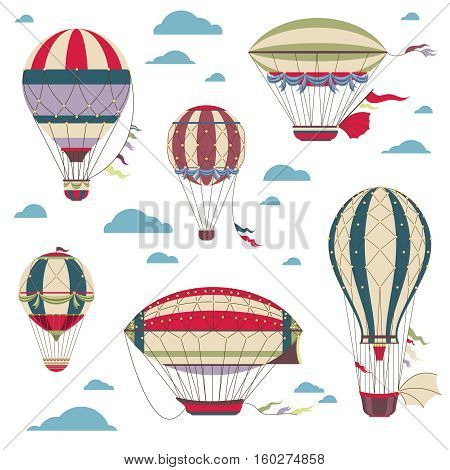 Vintage hot air balloons vector set for festival cards, Set of air balloons, vintage color air balloon for adventure illustration