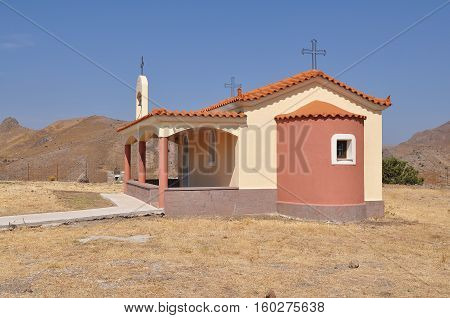 lonely standing church in mountains of island Lesbos, Greece