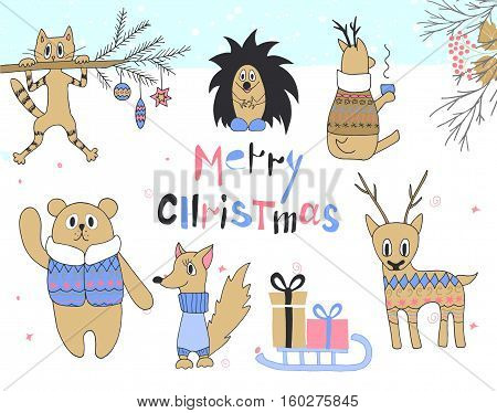 Hand drawn christmas card with cute cat, hedgehog, deer, squirrel, bear in a jacket, sledges with gifts and other items.