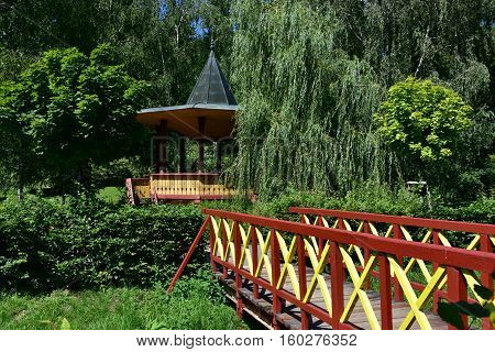 Typical garden pavilion in Spa Luhacovice in Czech republic