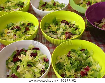 Many Bowls Of Lettuce And Salad In The Restaurant