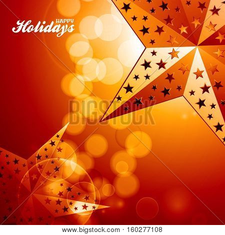 Happy Holidays Red and Yellow Glowing Background with 3D Illustration of Golden Stars