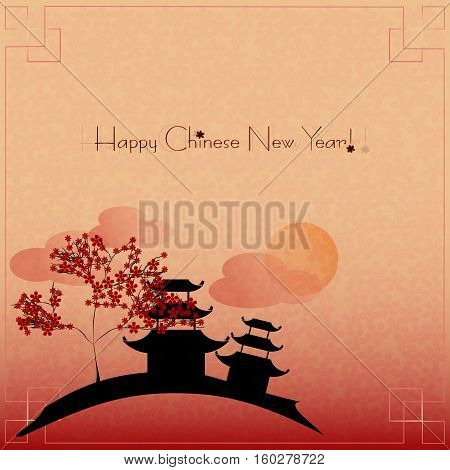 Greeting postcard with little chinese landscape to Chinese New Year on maroon background. Vector illustration