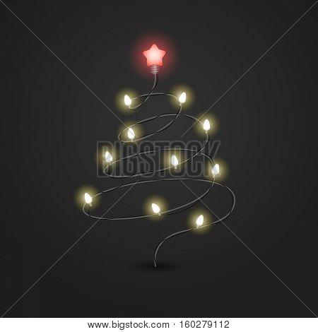 Christmas tree with lighting garland vector illustration. Christmas color garland. Christmas Greeting card vector template. Abstract christmas tree with lightbulbs