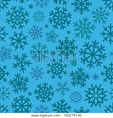 Different vector snowflakes seamless patter. Vector ice crystal ornament