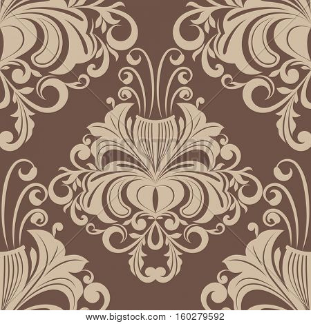 Seamless brown vintage wallpaper pattern. Floral background.