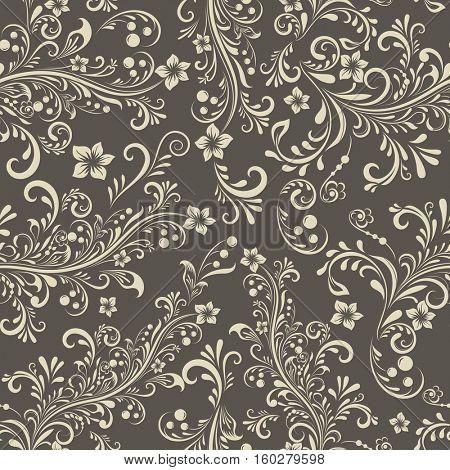 Seamless dark beige floral vintage pattern.