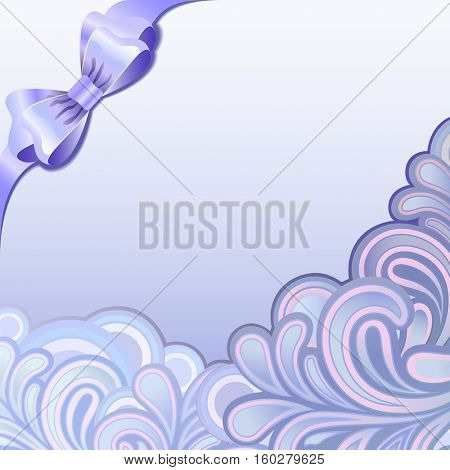 Purple splutter ornament with bow background with copy spaces.