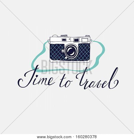 Vector template for card on the theme of travel vacation adventure. Retro 50's style. Handdrawn vintage camera with lettering Time to travel