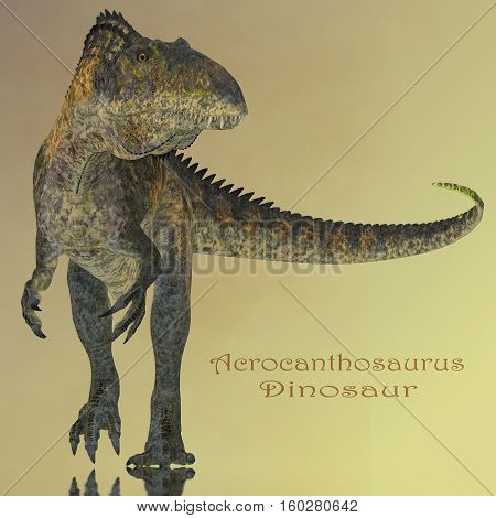 Acrocanthosaurus Dinosaur Mirror 3D Illustration - Acrocanthosaurus was a carnivorous theropod dinosaur that lived in North America during the Cretaceous Period.
