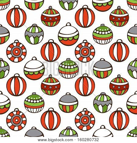 Vector seamless Christmas pattern. Bright set of Christmas tree baubles on white background. Doodles hand-drawn boundless background.