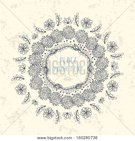 Abstract Cute Floral Design With Flowers Leaves And Place For Text