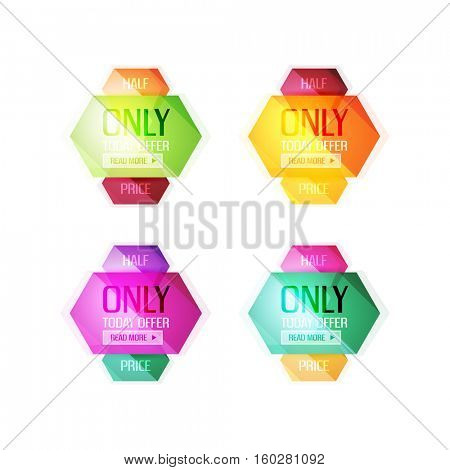 Vector abstract geometric sale labels, tags and banners