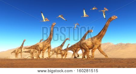 Brontomerus Dinosaur Desert 3D Illustration - A flock of Thalassodromeus reptiles fly over a herd of Brontomerus dinosaurs crossing a desert area.