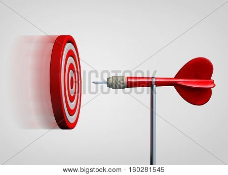 Attract success and business law of attraction strategy as a bulls eye target flying and gravitating towards a static dart as a metaphor for bringing clients to you as a 3D illustration.