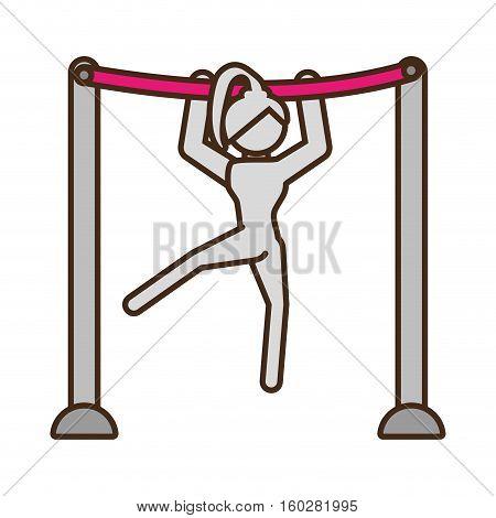 pictogram girl artistic gymnastic on bar sport vector illustration eps 10
