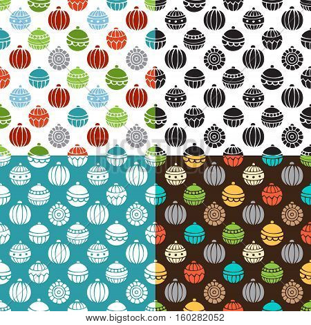 Vector set of seamless Christmas patterns. Bright and monochrome Christmas tree baubles. Doodles and cartoon hand-drawn boundless background.