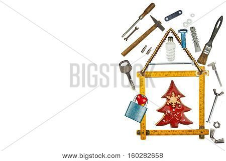 Christmas in the new house. Building a house. Mortgage on the building. Parts and tools for builders. Isolated on white.
