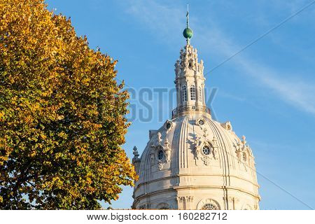 Catholic Cathedral Of Estrela In Lisbon On Autumn