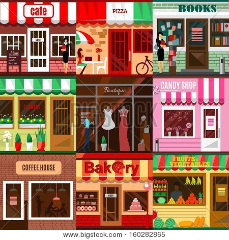Set of flat shop building facades icons. illustration for local market store house design. Street cafe, small business retail, pizza candy front kiosk, baby boutique fruit food mall concept app