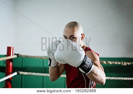 portrait of male boxer standing in the ring with arms raised in front of his face, ready to punch