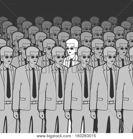 Unique Man in the Crowd Vector Illustration eps 8 file format