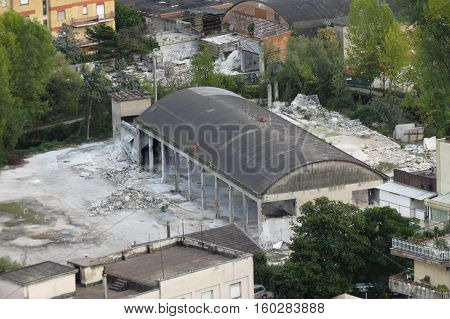 The ruins of an old abandoned factory in Cassino Italy