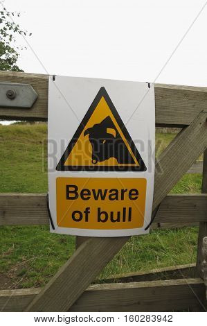 Warning sign Beware of bull in the countryside