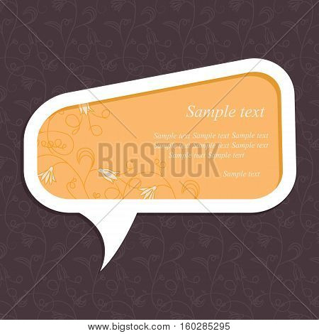 Speech bubble with floral elements on floral background