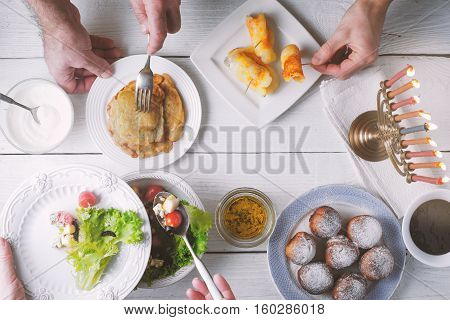 Hanukkah traditional dinner top view horizontal, ritual,  background