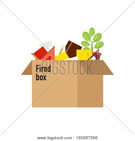 Businessman fired box with office things. Dismissed vector illustration. Fired from job.