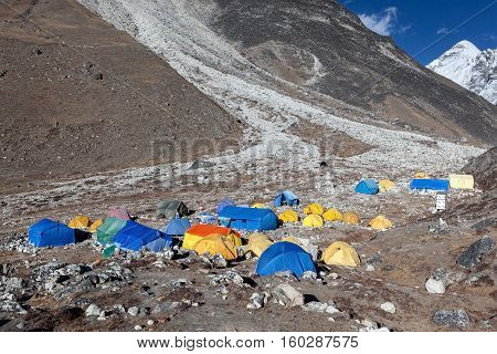 Everest Base Camp Trek/nepal - October 25, 2015: Island Peak Base Camp In Sagarmatha National Park,
