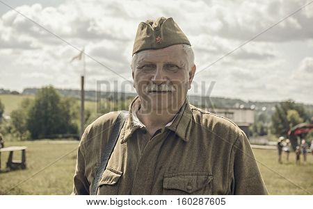 PERM RUSSIA - JULY 30 2016: Historical reenactment of World War II summer 1942. Soviet soldier