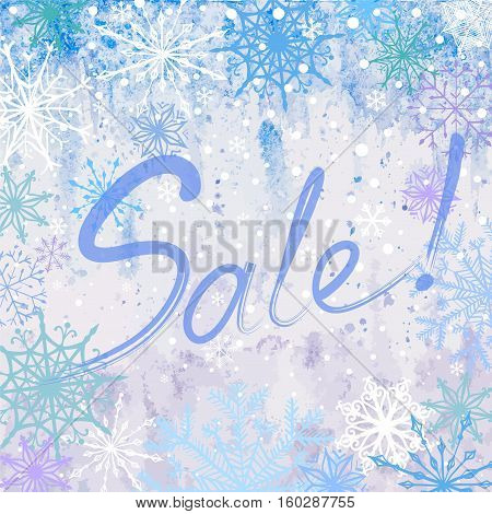Vector hand drawn watercolor winter sale square background with snowflakes and inscription Sale like ice frozen window
