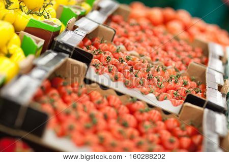 Fresh tomatoes in box in supermarket. Red tomatoes background.