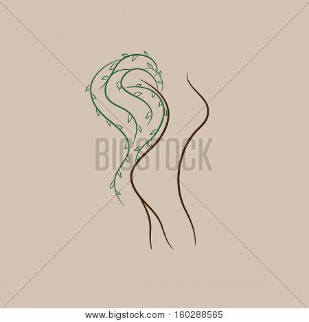 Tree silhouette like a woman. Tree alive idea, vector.