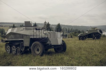 PERM RUSSIA - JULY 30 2016: Historical reenactment of World War II summer 1942. German and soviet armored cars