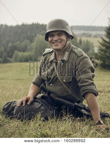 PERM RUSSIA - JULY 30 2016: Historical reenactment of World War II summer 1942. German soldier.