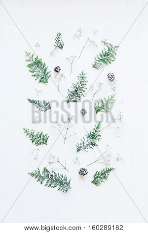 Christmas pattern made of pine cones thuja branches and gypsophila flowers. Christmas composition. Top view flat lay