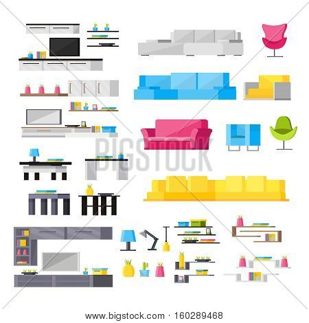 Interior elements orthogonal icons set with houseplants kitchen suites and colorful soft furniture isolated vector illustration