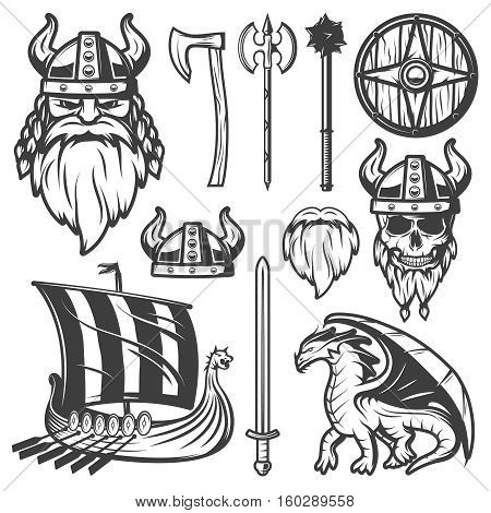 Black vintage viking icon set with tools and elements in life this peoples vector illustration