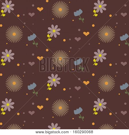 Flower pattern: blue, purpul and brown flowers. Cute hearts and polka dot. Burgundy background. Vector illustration.